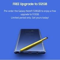 갤럭시노트9 사전 예약 구매 시 512GB SE 모델로 무료 업그레이드