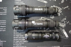 Surefire Vampire KM3 100lm, 150lm and KM1 250lm output comparison