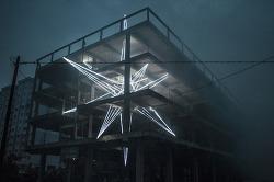 버려진 콘크리트 건물에 LED로 만든 설치미술, 말레이시아 쿠알라룸푸르의 건축가 Jun Ong의 The Star.