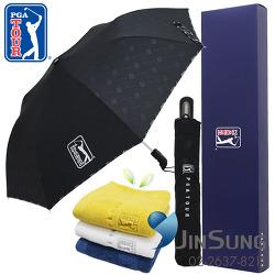 PGA2단엠보선염바이어스완전자동우산,170g면사타올세트 우산타올세트추천해요 고급답례품, 기념품