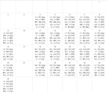 2018년 프로야구 아시아 경기 이후 9월 일정표