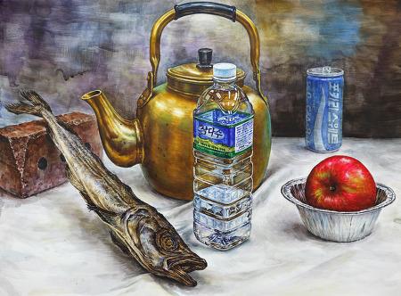 [정물수채화/과정작]노란주전자, 삼다수, 북어, 사과, 은박접시, 벽돌, 포카리캔
