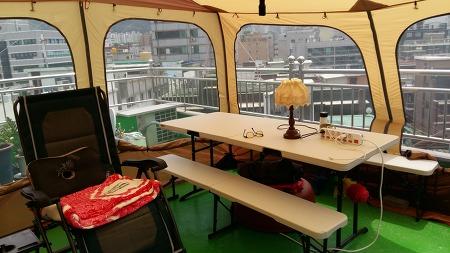 옥상에서 캠핑 여름보내기