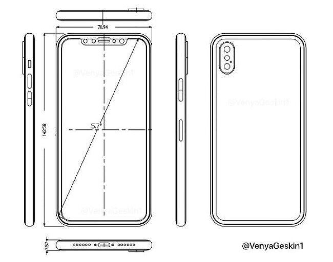 아이폰8 디자인 도면 유출 - 5.7인치 확정?