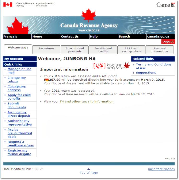 2014년 캐나다 세금 환급(Tax Return)도 NETF..