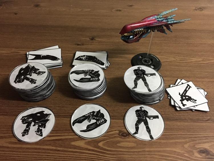 드랍플릿 커맨더 지상군 표시용 커스텀 토큰 제작 시도 (2)