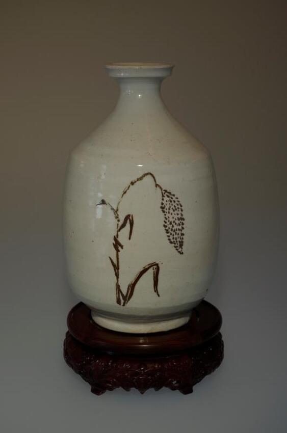 조선시대 철화백자 도수문(벼이삭)반구병
