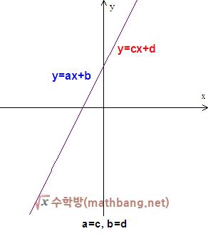 일차함수 그래프의 일치