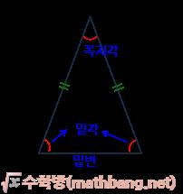 이등변삼각형, 꼭지각, 밑각, 밑변