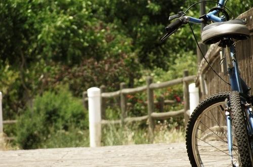 길 목에 놓인 자전거