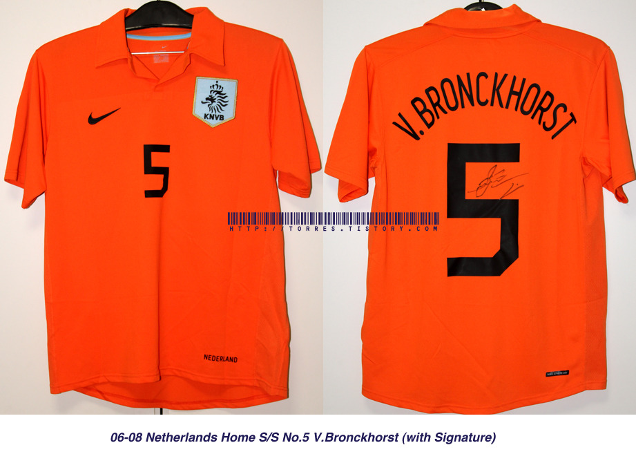 06-08 Netherlands National Team Home S/S No.5 V.Bronckhorst (with Signature)