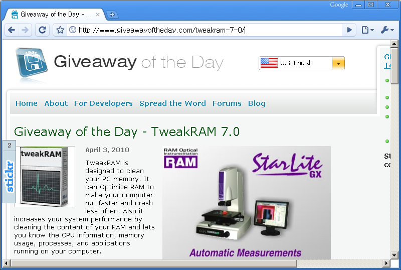 Giveaway of the Day 홈페이지 - 오늘은 TweakRAM 7.0 프로그램이 공짜!