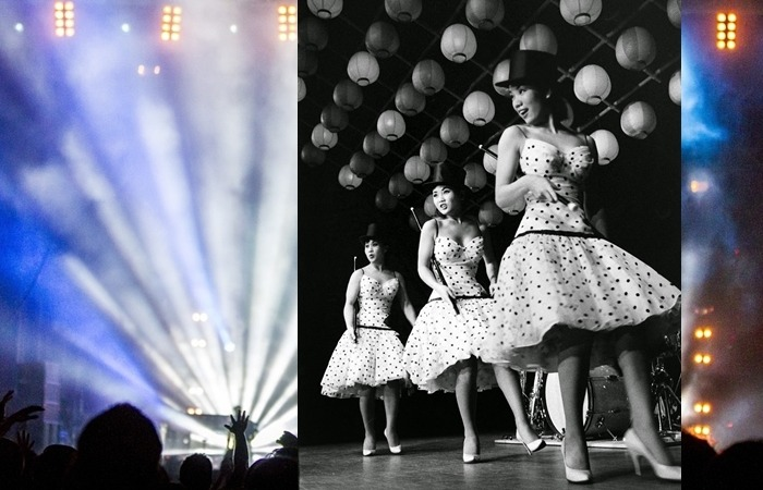 사진: 미국 라스베거스에서의 공연 모습. 춤, 노래, 연주, 퍼포먼스 등 모두 다 출중한 엔터테인먼트였다. [김시스터즈, 한류스타 원조걸그룹 - 저고리시스터즈의 다방의 푸른 꿈]