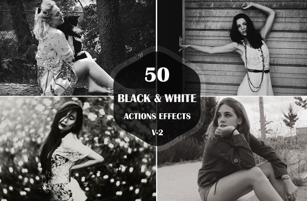 50 가지 무료 포토샵 흑백 액션 - 50 Free Black & White Photoshop Actions