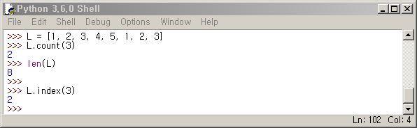 파이썬 리스트 count, index 함수