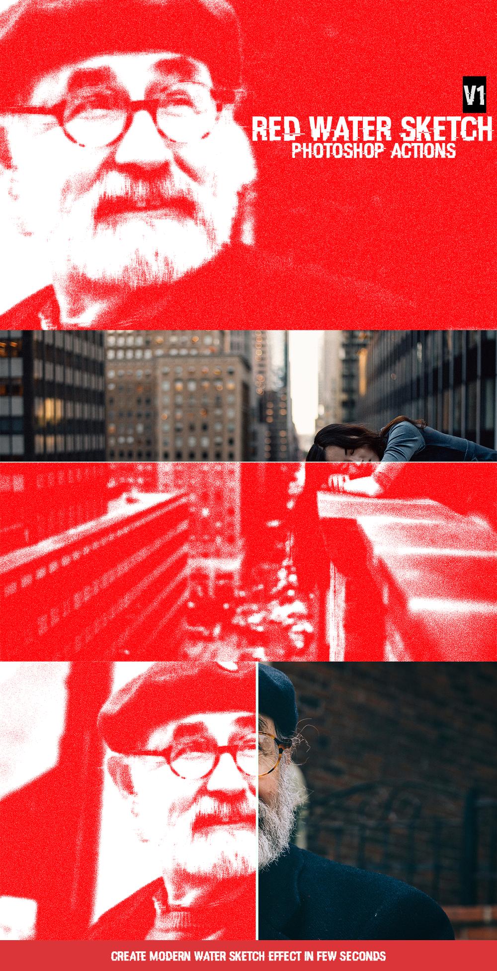 무료 포토샵 워터 스케치 액션 - Free Photoshop Red Water Sketch Action