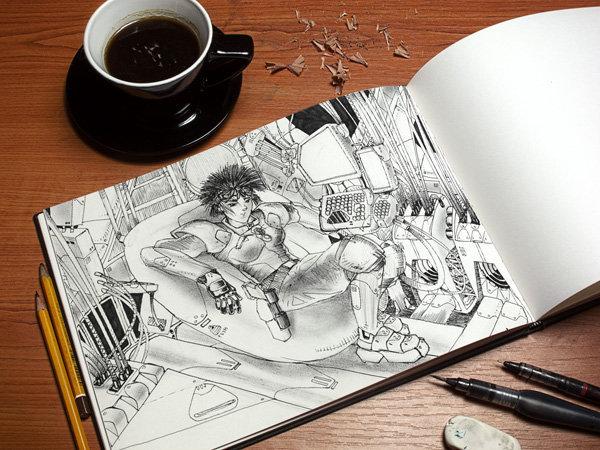 커피 한 잔 하며 작업중인 것 같은 느낌의 스케치북 목업 PSD - Free Art Book PSD Mockup