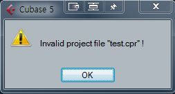 큐베이스 8 pro에서 만든 프로젝트를 큐베이스 5.5에서 열었을 때 2