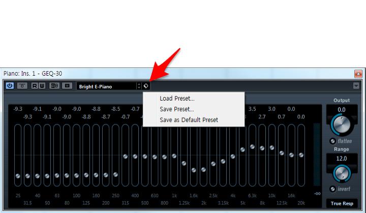 위와 같이 아이콘을 클릭하면 VST 프리셋을 저장하거나 불러올 수 있습니다.