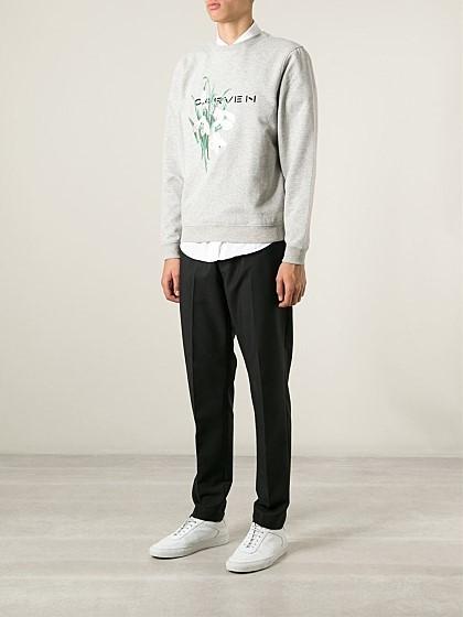 새로운 까르뱅 꽃자수 맨투맨 셔츠 스웻셔츠