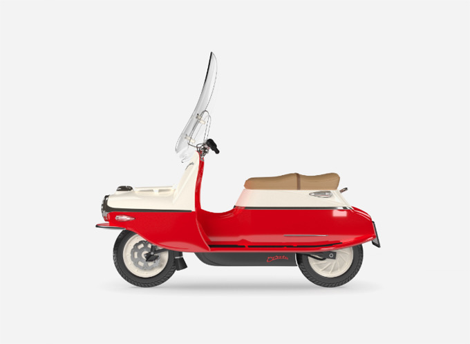 *전기 스쿠터 cezeta electric scooter features a distinctive torpedo form