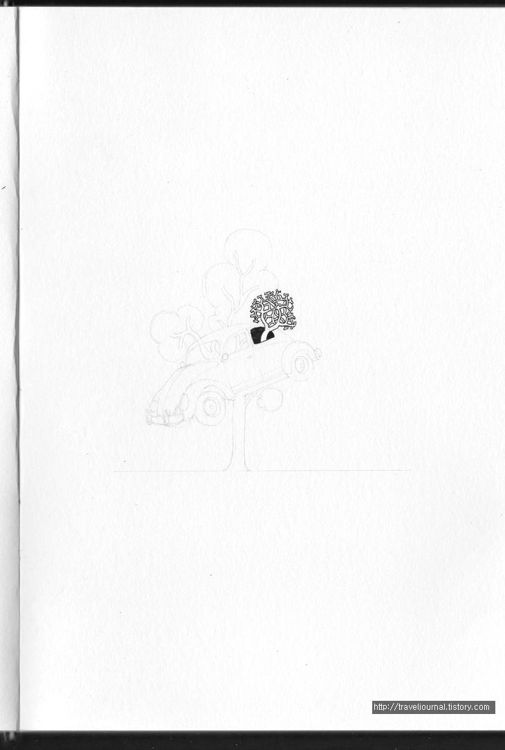 dimo beetle tree 만년필 펜화 과정