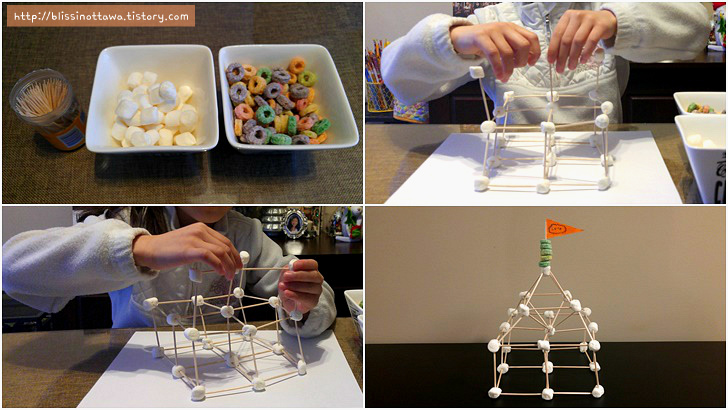 마시멜로 집짓기 3D 구조물