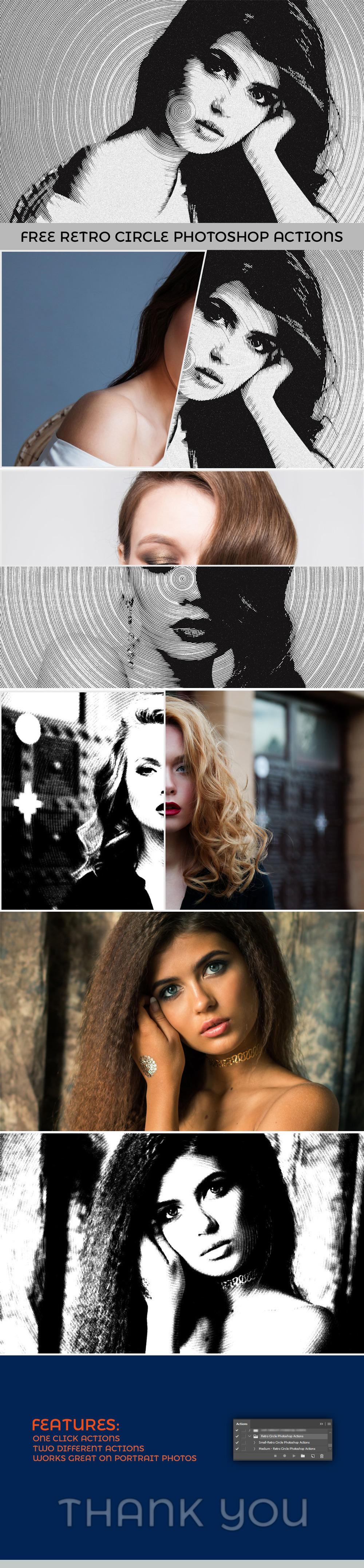 2 가지 무료 포토샵 빈티지 레트로 써클 흑백 액션 - 2 Free Vintage Retro Circle Black & White Photoshop Actions