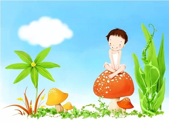 버섯 무료 만화 PSD 배경 아이