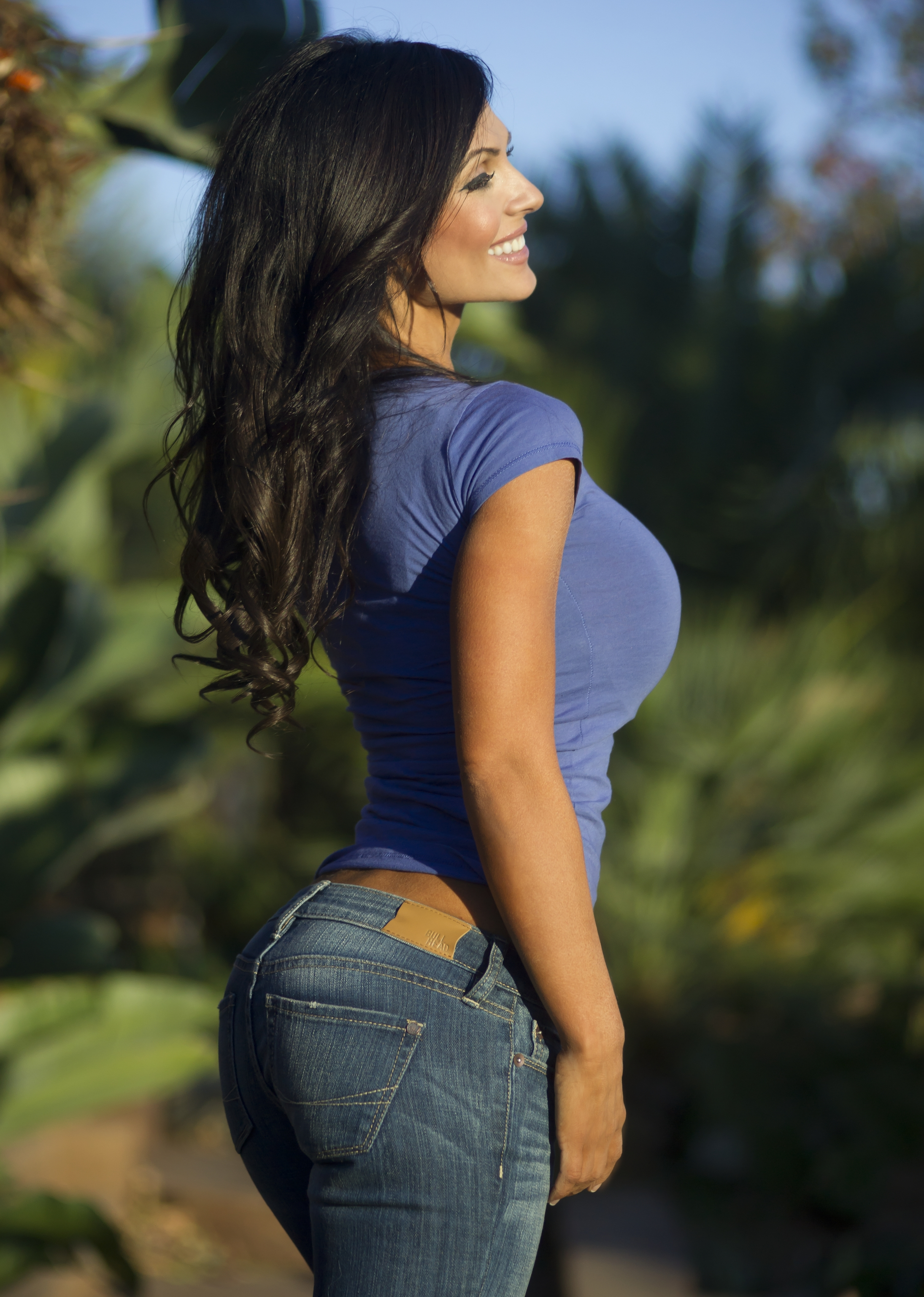 Denise milani blue t shirt eyval net