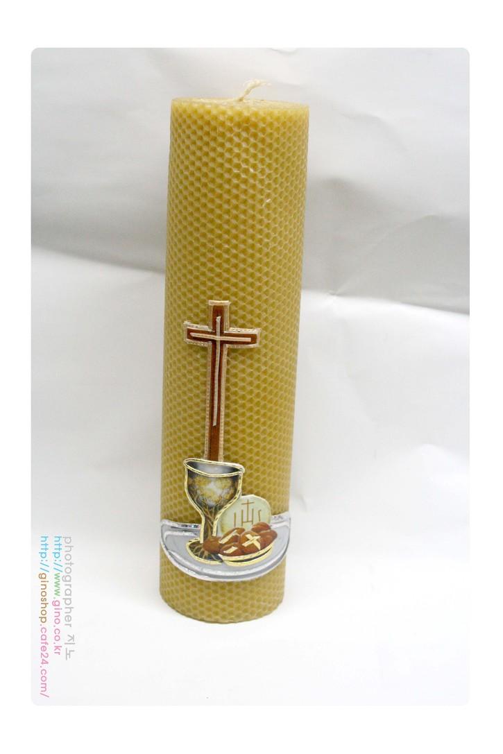 벌집 시트 두루마리 십자가 성작 성체 빵 밀랍 양초