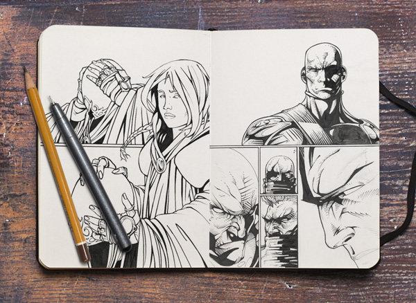 낡은 책상 위의 스케치북 목업 PSD - Free Sketchbook PSD Mockup