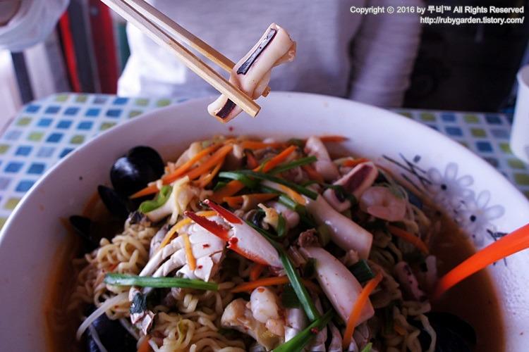 포항 호미곶 맛집 / 월녀의 해물포차에서 맛본 환상의 해물 라면
