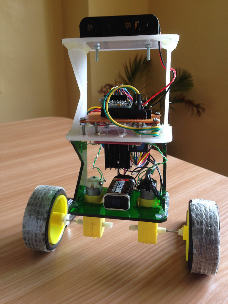 How To Build An Arduino Self Balancing Robot Zalophuss Designhouse Mpu6050 Wiring Diagram Completed At The Top Are Six Ni Cd Batteries For Powering Circuit Board In Between Motors Is A 9v Battery Motor