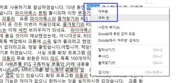 크롬 브라우저에 내장된 한국어 맞춤법 검사기