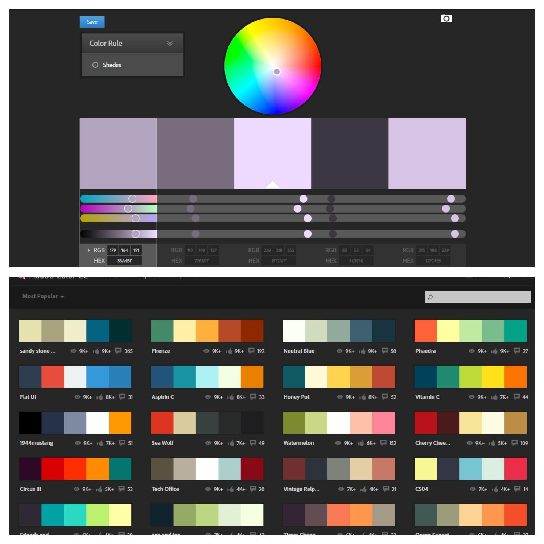 Adobe Color CC는 다양한 칼라 스킴 선택을 빠르게 탐험해볼 수 있는 멋진 도구이다