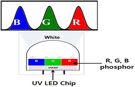 UV LED Chip위에 R,G,B 형광체를 도포하여 백색광원을 얻는 계략도