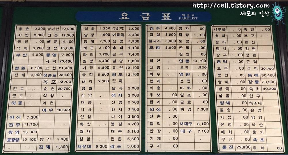 울산시외버스터미널 요금표