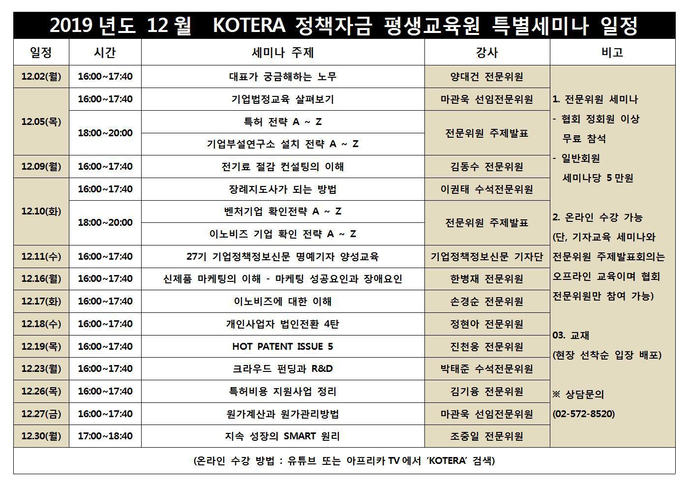 한국기술개발협회, 협회 부설 KOTERA 정책자금 평생교육원 12월 특별 세미나 일정 발표