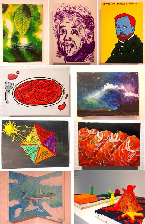 전시4 - 회화작품 : <에너지>를 주제로 다양한 소재와 도구로 표현한 작품들