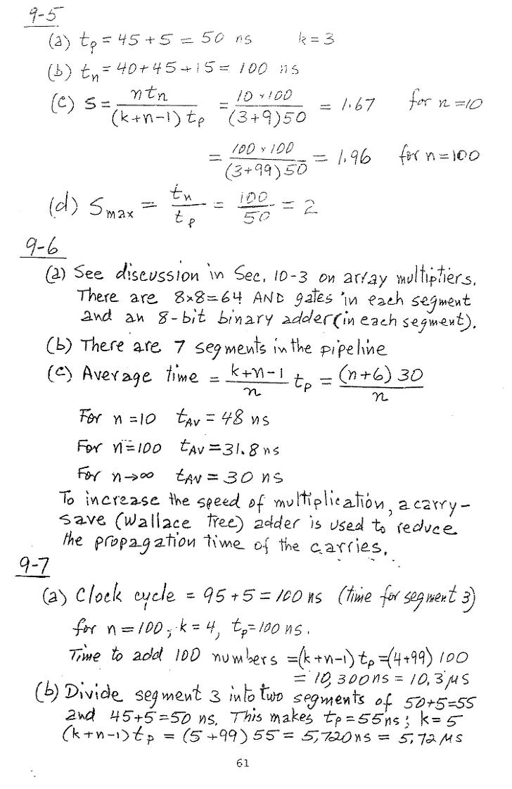 컴퓨터구조 연습문제, 모리스 마노 챕터9 61