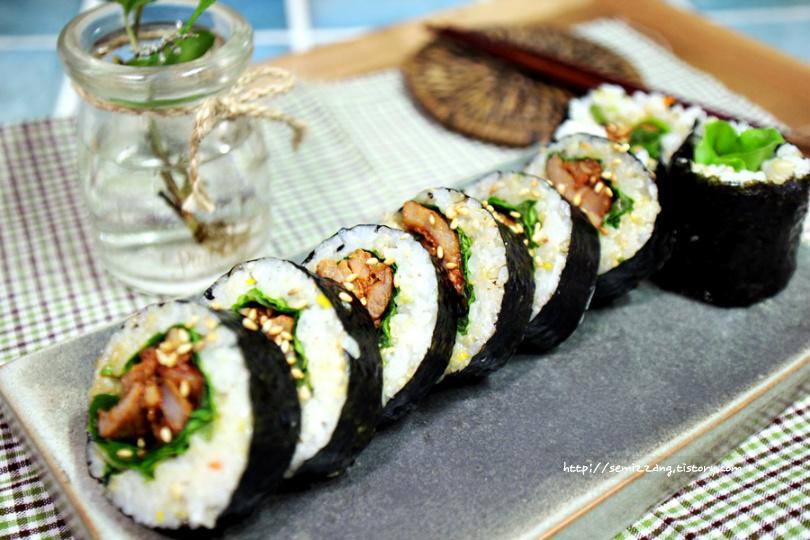 오리주물럭 김밥 도시락싸기